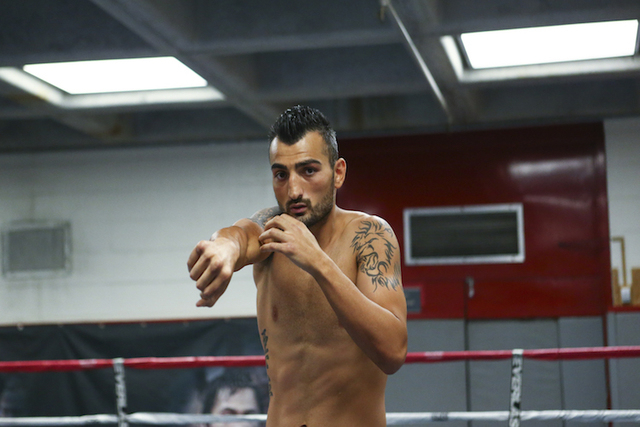 Vanes Martirosyan works out ahead of his WBA World super welterweight title fight against Erislandy Lara, slated for Saturday at the Cosmopolitan hotel-casino,  at UNLV's boxing gym in Las Vegas o ...