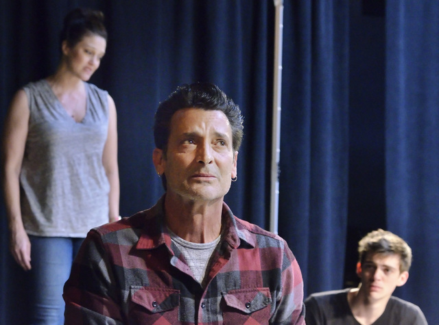 """Victoria Matlock, left, Robert Torti, center, and Maverick Hiu portray family members facing multiple challenges in Cockroach Theatre's new musical """"Bright Side,"""" which premieres this weekend at d ..."""