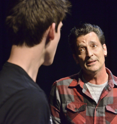 """Maverick Hiu, left, and Robert Torti rehearse their roles as son and father, respectively, in the new musical """"Bright Side,"""" which premieres at this weekend at downtown's Art Square Theatre.  (Bil ..."""