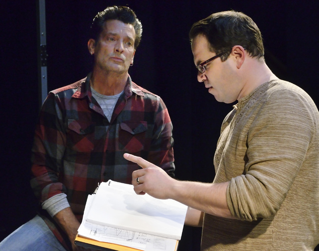 """Actor Robert Torti and director Will Adamson discuss a scene from Cockroach Theatre's new musical """"Bright Side"""" during a rehearsal at downtown's Art Square Theatre.  (Bill Hughes/Las Vegas Review- ..."""