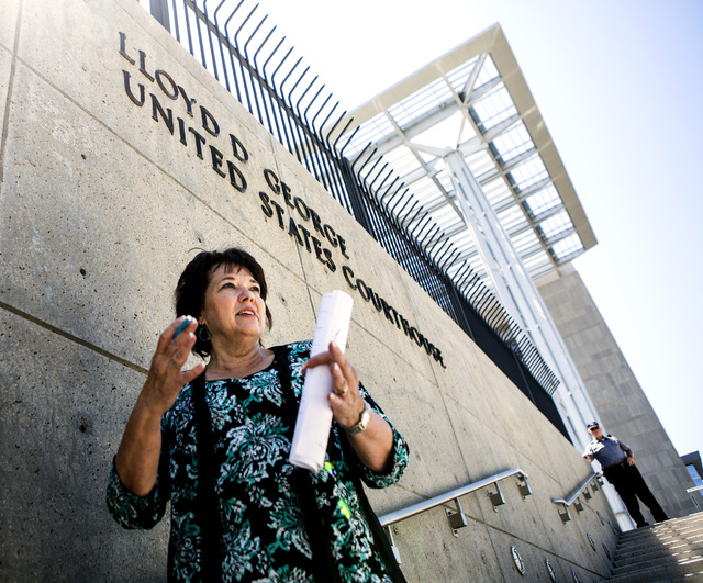 Carol Bundy, wife of Nevada rancher Cliven Bundy, stands in front of Lloyd George U.S. Courthouse on Tuesday, May 10, 2016. Jeff Scheid/Las Vegas Review-Journal Follow @jlscheid