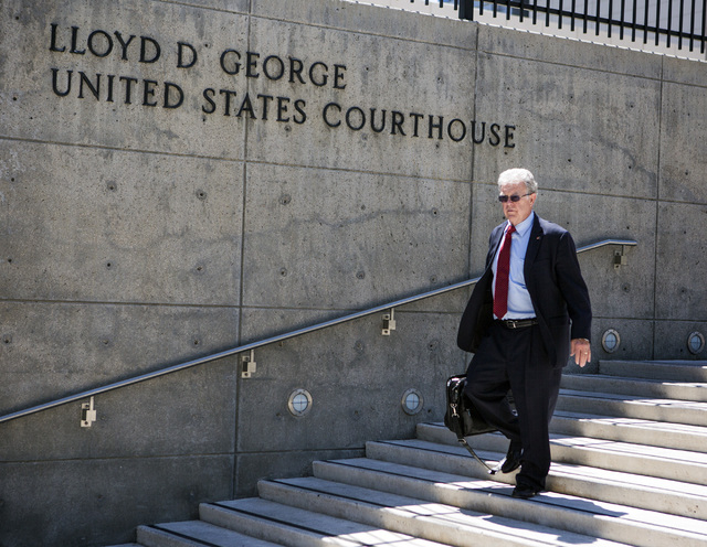 Attorney Joel Hansen, representing Nevada rancher Cliven Bundy, walks down the steps at Lloyd George U.S. Courthouse on Tuesday, May 10,2016. Jeff Scheid/Las Vegas Review-Journal Follow @jlscheid