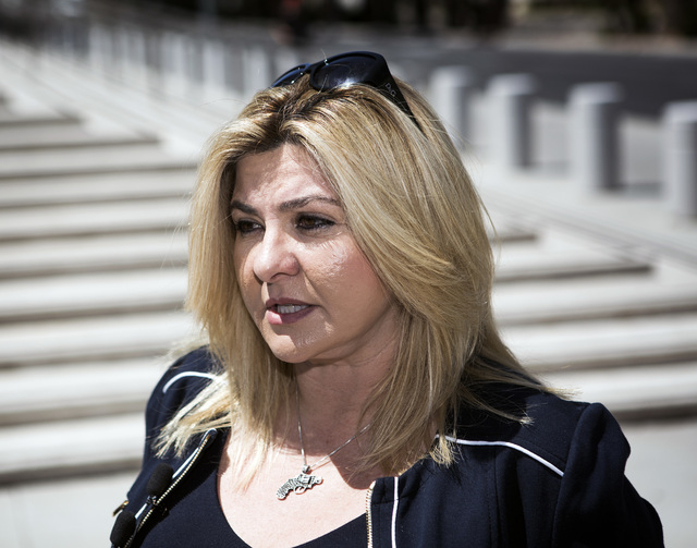 Assemblywoman and congressional candidate Michele Fiore talks to the media in front of Lloyd George U.S. Courthouse on Tuesday, May 10, 2016. Jeff Scheid/Las Vegas Review-Journal Follow @jlscheid