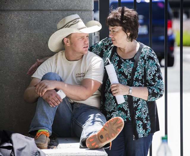 Carol Bundy, right, wife of Nevada rancher Cliven Bundy, talks to her son Art Bundy near Lloyd George U.S. Courthouse on Tuesday, May 10, 2016. Jeff Scheid/Las Vegas Review-Journal Follow @jlscheid
