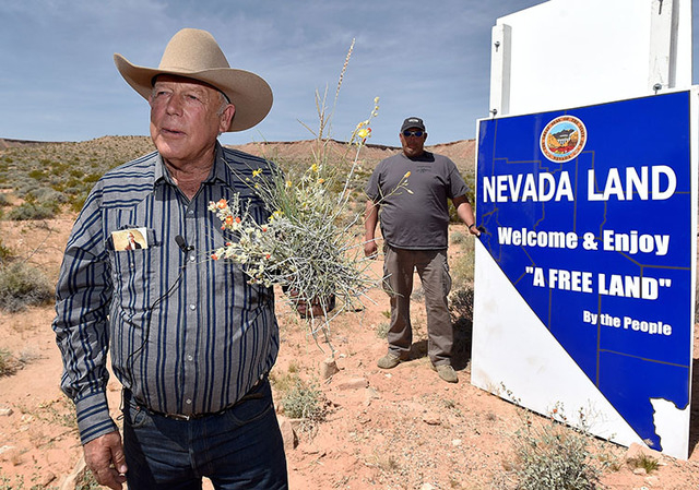 Rancher Cliven Bundy displays a bouquet of desert foliage that his cattle grazes on during a news conference at an event near his ranch in Bunkerville on Saturday, April 11, 2015.  (David Becker/L ...