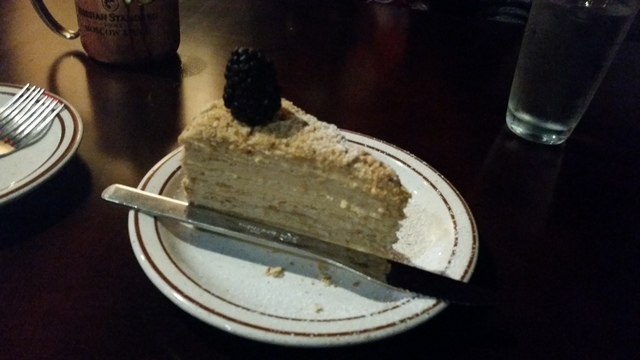 Honey cake is shown at Cafe Mayakovsky, 1775 E. Tropicana Ave., Suite 30. Lisa Valentine/View