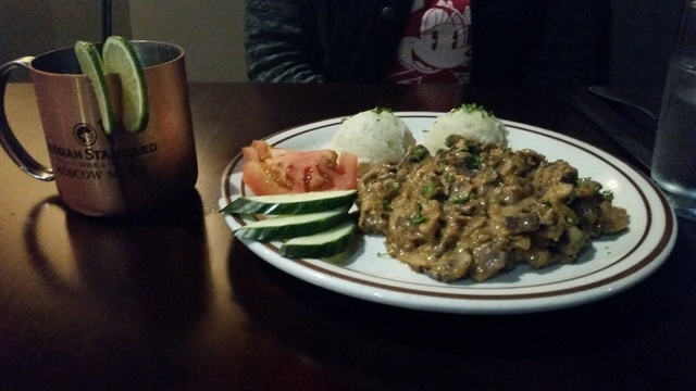 Beef stroganoff is shown at Cafe Mayakovsky, 1775 E. Tropicana Ave., Suite 30. Lisa Valentine/View