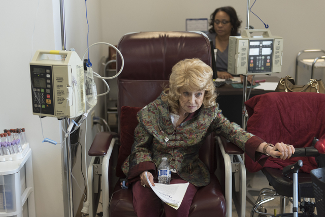 J Carole Kuntz, 74, speaks with a reporter as she receives Tecentriq for her bladder cancer at Comprehensive Cancer Centers of Nevada at 3730 S. Eastern Ave. in Las Vegas Friday, May 20, 2016. Kun ...