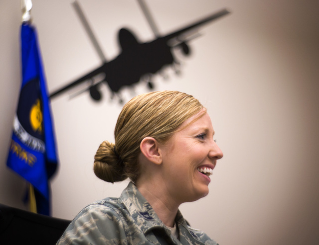Capt. Madison Gilbert, officer in charge at the 757th Aircraft Maintenance Squadron, sits in her office on Wednesday, April 27, 2016. Jeff Scheid/Las Vegas Review-Journal Follow @jlscheid