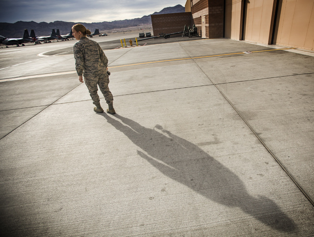 Capt. Madison Gilbert, officer in charge at the 757th Aircraft Maintenance Squadron, walks to the flight line on Wednesday, April 27, 2016. Jeff Scheid/Las Vegas Review-Journal Follow @jlscheid