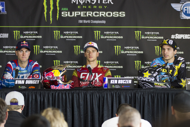 Supercross drivers from left, Ryan Dungey, Ken Roczen, and Jason Anderson participate during the 2016 Monster Enegery Supercross official press conference at Sam Boyd Stadium on Friday, May 6, 201 ...