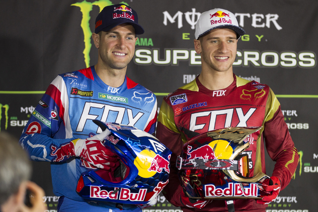 Supercross drivers Ryan Dungey, left, and Ken Roczen pose during the 2016 Monster Enegery Supercross official press conference at Sam Boyd Stadium on Friday, May 6, 2016, in Las Vegas. (Erik Verdu ...