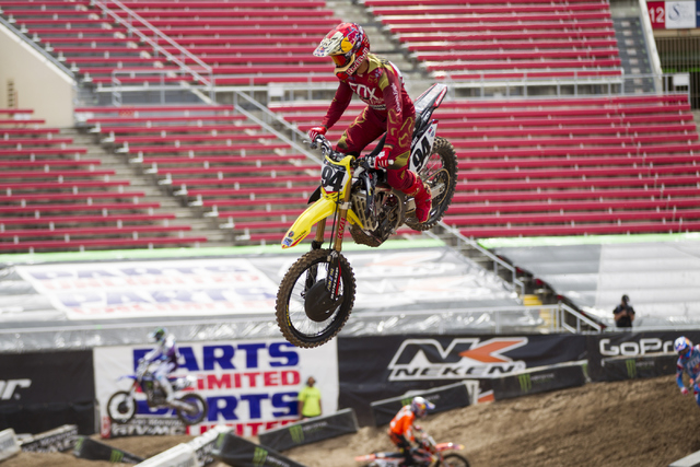 Supercross driver Ken Roczen rides his motorcycle following the 2016 Monster Enegery Supercross official press conference at Sam Boyd Stadium on Friday, May 6, 2016, in Las Vegas. (Erik Verduzco/L ...