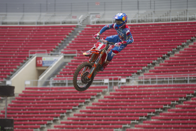 Supercross driver Ryan Dungey rides his motorcycle following the 2016 Monster Enegery Supercross official press conference at Sam Boyd Stadium on Friday, May 6, 2016, in Las Vegas. (Erik Verduzco/ ...