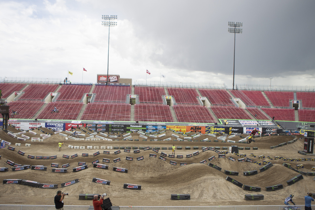 Supercross drivers ride their motorcycle following the 2016 Monster Enegery Supercross official press conference at Sam Boyd Stadium on Friday, May 6, 2016, in Las Vegas. (Erik Verduzco/Las Vegas  ...