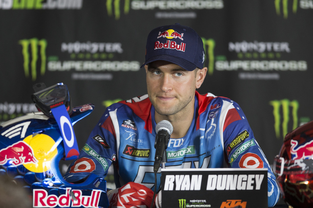 Supercross driver Ryan Dungey speaks during the 2016 Monster Enegery Supercross official press conference at Sam Boyd Stadium on Friday, May 6, 2016, in Las Vegas. (Erik Verduzco/Las Vegas Review- ...