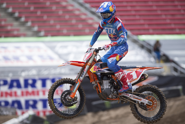 Supercross driver Ryan Dungey rides his motorcycle following the 2016 Monster Enegery Supercross official press conference at Sam Boyd Stadium on Friday, May 6, 2016, in (Las Vegas. Erik Verduzco/ ...