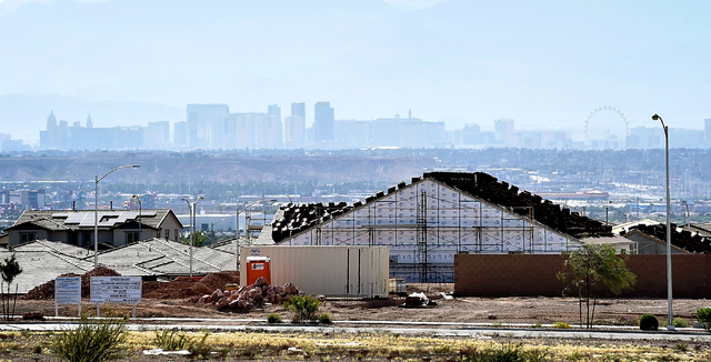 A home is seen under construction Monday, May 23, 2016, in Henderson. Newly released U.S. Census data puts Las Vegas in the 28th most populous spot among American cities. David Becker/Las Vegas Re ...