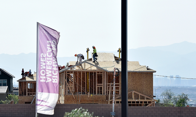 Homes are seen under construction Monday, May 23, 2016, in Henderson. Newly released U.S. Census data puts Las Vegas in the 28th most populous spot among American cities. David Becker/Las Vegas Re ...