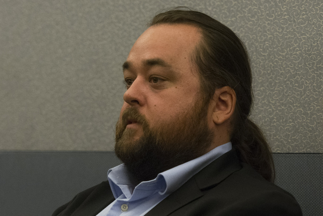 "Austin Lee ""Chumlee"" Russell is seen in court at the Regional Justice Center in Las Vegas Monday, May 23, 2016. The reality TV actor from ""Pawn Stars"" is facing ..."