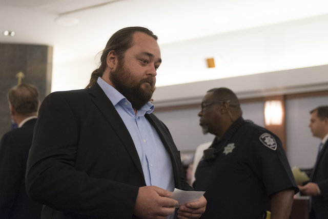 "Austin Lee ""Chumlee"" Russell exits his courtroom at the Regional Justice Center in Las Vegas Monday, May 23, 2016. The reality TV actor from ""Pawn Stars"" is fac ..."