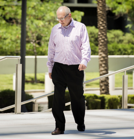 Gregory Olson, a former church treasurer charged with stealing $1.5 million from the congregation, walks to Lloyd George U.S. Courthouse, 333 Las Vegas Blvd. on Monday, May 9,2016. Jeff Scheid/Las ...