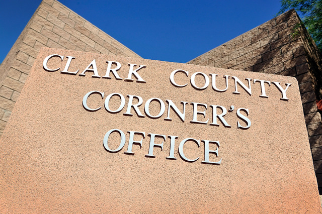 The monument sign for the Clark County Coroner is seen on Friday, Oct. 17, 2014. (David Becker/Las Vegas Review-Journal)