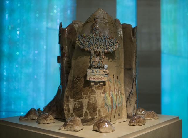 "Artists Coni Kalinowski, Linda de Bourveau, Jodi Reisman and Nelson-Springberg created the ""Cultural Triptych"" ceramic pieces featured in the ""Vegas to a Local"" exhibit at Las Vegas City Hall. Jef ..."