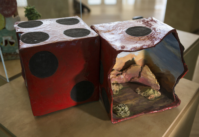 """Artist Marge Link invites viewers to """"Try Your Luck"""" in a Vegas-centric ceramic piece featured at Las Vegas City Hall's Grand Gallery. Jeff Scheid/Las Vegas Review-Journal Follow @jlscheid"""