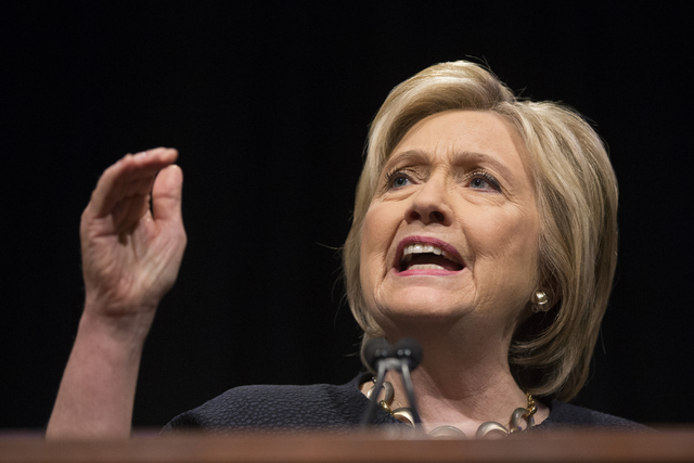Democratic presidential candidate Hillary Clinton speaks during a United Food and Commercial Workers International Union convention meeting at the Mirage Convention Center on Thursday, May 26, 201 ...