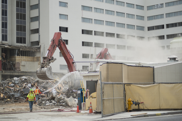 Crews work to demolish parts of the Riviera hotel-casino in Las Vegas on Friday, May 20, 2016. The two main towers are scheduled to be imploded in June and August. Daniel Clark/Las Vegas Review-Jo ...