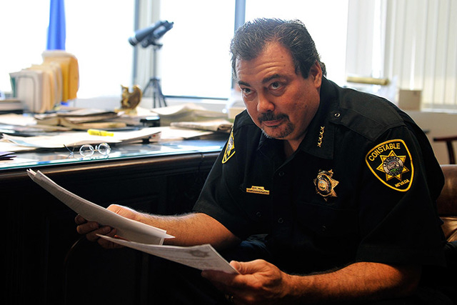 Las Vegas Township Constable John Bonaventura looks on during an interview in his downtown Las Vegas office on Tuesday, May 27, 2014. (David Becker/Las Vegas Review-Journal)