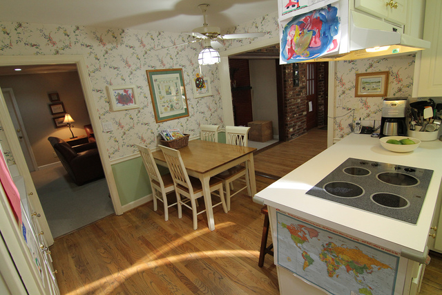 COURTESY CHIP WADE Before: The kitchen was cramped and was not conducive to entertaining. Countertops and prep space were limited. The kitchen only had one small table for guests to sit.