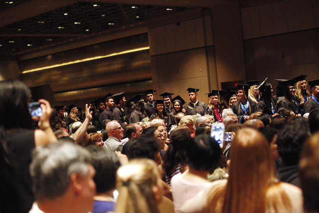 Touro University Nevada graduates enter the ballroom at the beginning of their graduation ceremony at the Rio Hotel and Casino Sunday, May 15, 2016. (Rachel Aston/Las Vegas Review-Journal)  Follow ...
