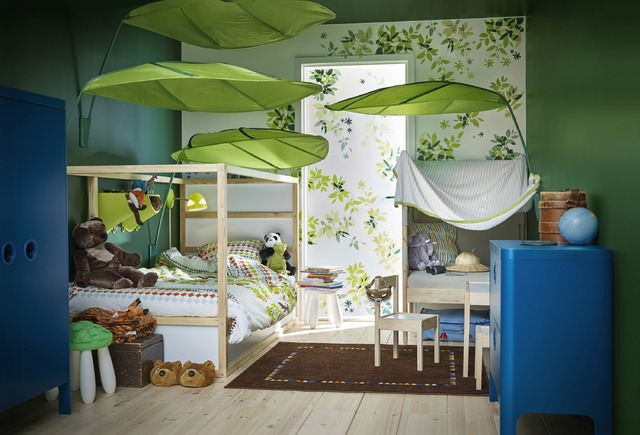 COURTESY IKEA This room plays into a child's wildest fantasies. When turned upside down, Ikea's Kura bed quickly converts from a low to a high bed.