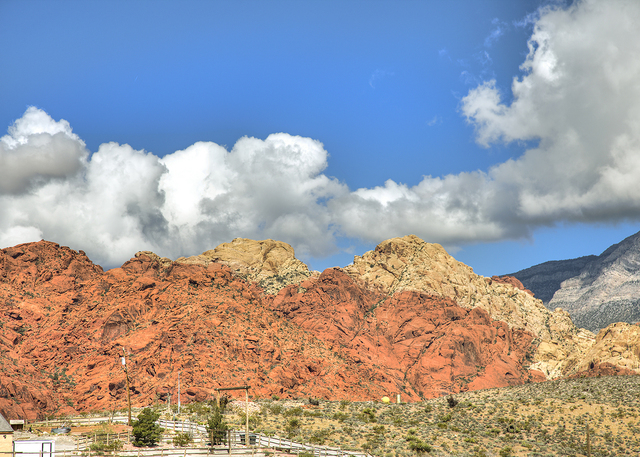 The Spring Mountains are the backdrop for these Calico Basin homes in Red Rock Canyon National Conservation Area. (COURTESY OF SYNERGY, SOTHEBY'S INTERNATIONAL REALTY)