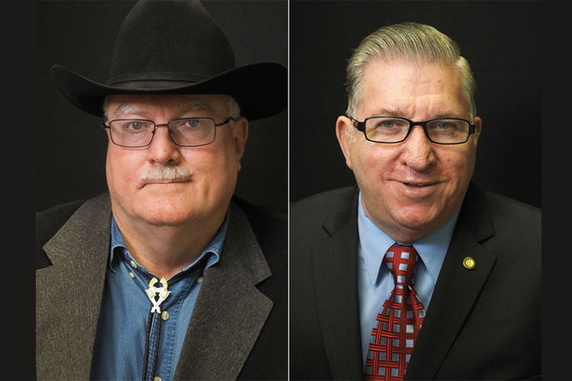 Republican candidates for Clark County Commission District C, from left, Stephen Sedlmeyer and Gary Hosea, are photographed at the Las Vegas Review-Journal offices in 2016. (Jerry Henkel/Las Vegas ...