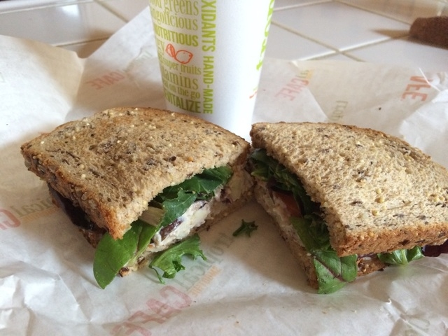 The Cranberry Pecan Chicken Salad Sandwich is shown on seeded bread at Tropical Smoothie Cafe. Jan Hogan/View