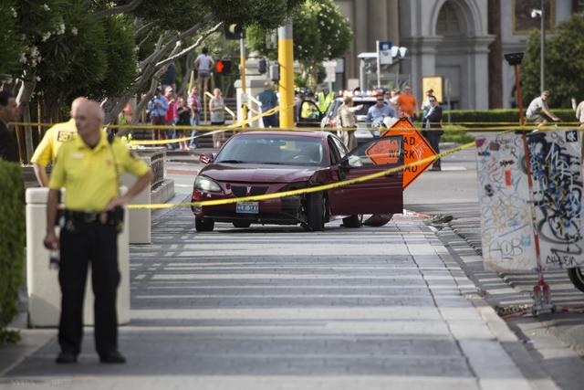 The scene of a two vehicle crash on Las Vegas Boulevard South near Caesars Palace casino-hotel on Wednesday, May 4, 2016, in Las Vegas. Erik Verduzco/Las Vegas Review-Journal Follow @Erik_Verduzco