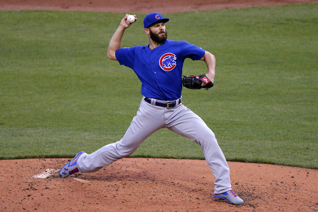 Chicago Cubs starting pitcher Jake Arrieta delivers during the third inning of a baseball game against the Pittsburgh Pirates in Pittsburgh, Tuesday, May 3, 2016. (Gene J. Puskar/AP)