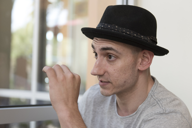 Danny Efron speaks with a reporter at The Coffee Bean & Tea Leaf in Town Square in Las Vegas Wednesday, May 4, 2016. Efron, a brain tumor survivor, sponsored a team in the Desert Gray Matters  ...