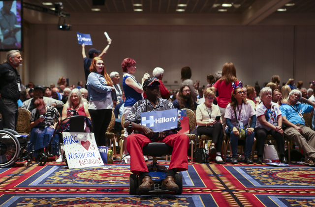 Leslie Stafford, a supporter of Democratic presidential candidate Hillary Clinton, looks on during the Nevada State Democratic Party's 2016 State Convention at the Paris hotel-casino in Las Vegas  ...