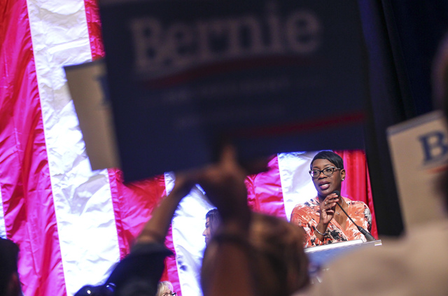 Former Ohio state Sen. Nina Turner speaks in support of Democratic presidential candidate Bernie Sanders during the Nevada State Democratic Party's 2016 State Convention at the Paris hotel-casino  ...