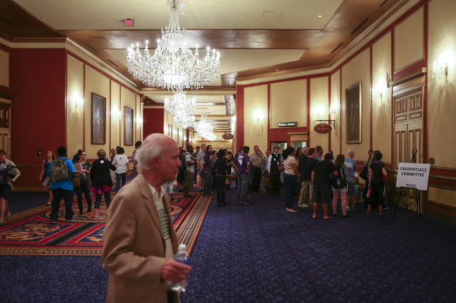People line up during the Nevada State Democratic Party's 2016 State Convention at the Paris hotel-casino in Las Vegas on Saturday, May 14, 2016. (Chase Stevens/Las Vegas Review-Journal) Follow @c ...