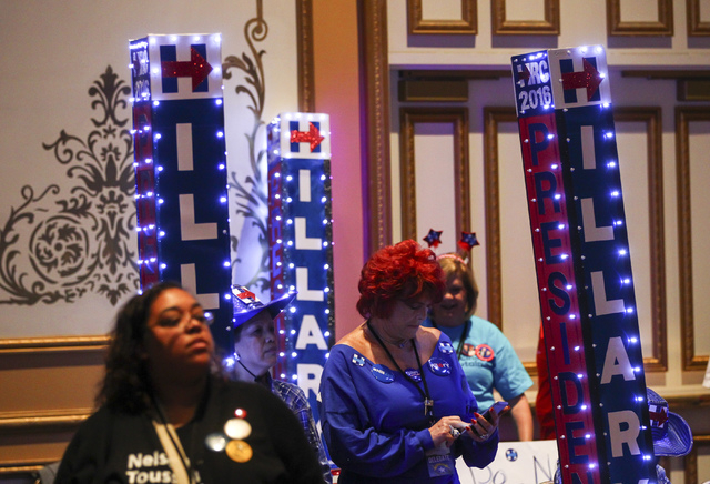 Supporters of Democratic presidential candidate Hillary Clinton look on during the Nevada State Democratic Party's 2016 State Convention at the Paris hotel-casino in Las Vegas on Saturday, May 14, ...