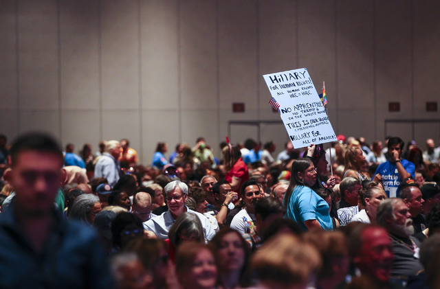 Supporters of Democratic presidential candidate Hillary Clinton are shown during the Nevada State Democratic Partyճ 2016 State Convention at the Paris hotel-casino in Las Vegas on Saturday,  ...