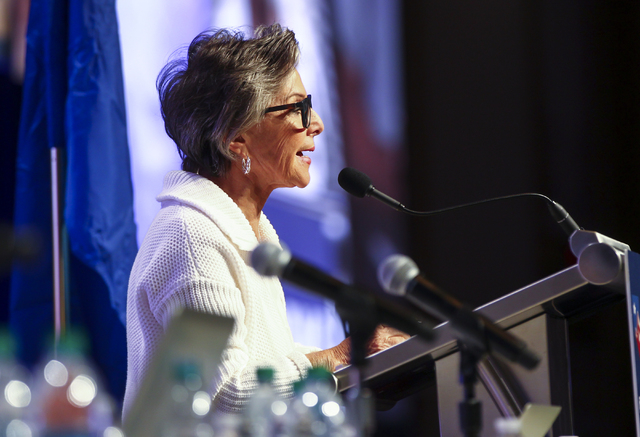 U.S. Sen. Barbara Boxer, D-Calif., speaks during the Nevada State Democratic Party's 2016 State Convention at the Paris hotel-casino in Las Vegas on Saturday, May 14, 2016. (Chase Stevens/Las Vega ...