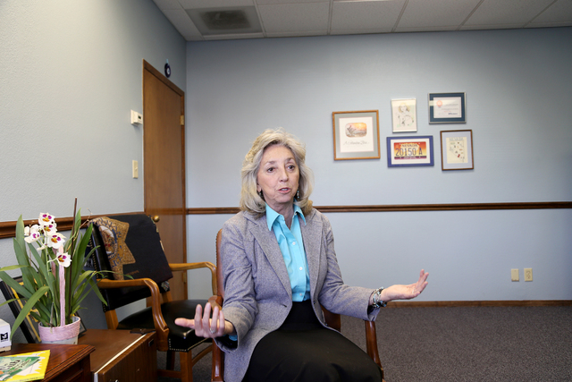 Congresswoman Dina Titus talks about her favorite places in Las Vegas at her offices on Charleston Boulevard in Las Vegas Thursday, March 24, 2016. (Rachel Aston/Las Vegas Review Journal) Follow @ ...