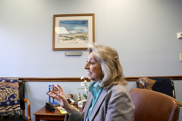 Congresswoman Dina Titus talks about her favorite places in Las Vegas at her offices on Charleston Boulevard in Las Vegas Thursday, March 24, 2016. Rachel Aston/Las Vegas Review Journal Follow @ro ...