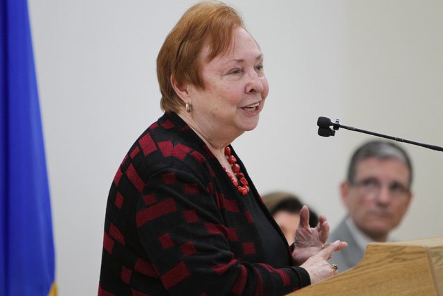 Dr. Barbara Atkinson, dean of the UNLV School of Medicine, speaks during a press conference on March 31, 2015, at Touro University Nevada in Henderson. (Erik Verduzco/Las Vegas Review-Journal Foll ...